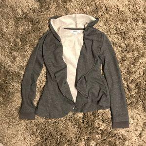 NWOT DKNY grey drape front hoodie jacket blazer